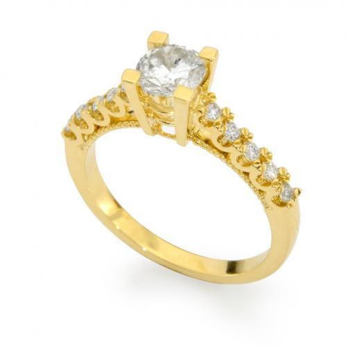 טבעת סוליטר צהובה