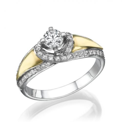 טבעת יהלום אירוסין-שילוב צהוב ולבן
