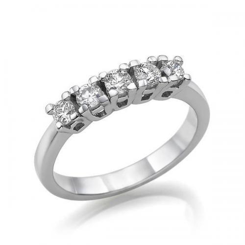 טבעת יהלום שורה 5 אבנים