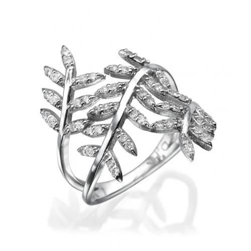 טבעת יהלומים  - בעיצוב עלים