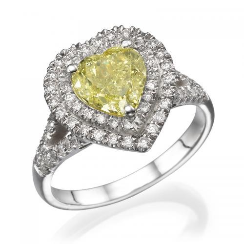 טבעת יהלום לב - 1.5 קרט .