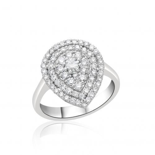 טבעת יהלומים בצורת טיפה