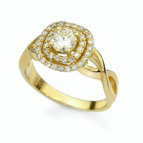 טבעת יהלום חיתוך קושון צהוב
