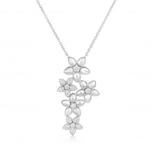 תליון יהלומים בעיצוב פרחים