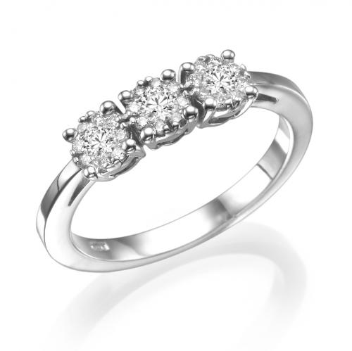 טבעת יהלומים פווה פרחים