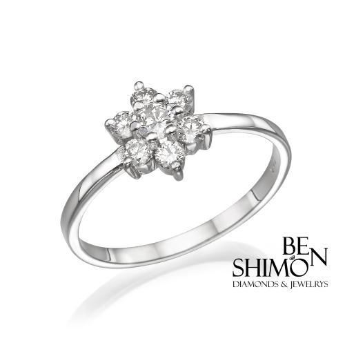 טבעת יהלום אירוסין - פרח יהלום