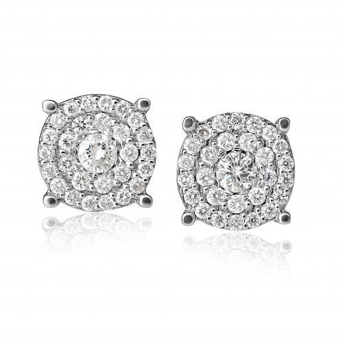 עגילי יהלומים בעיצוב מרובע
