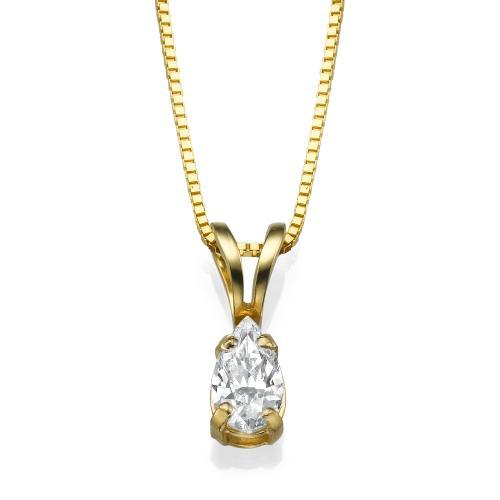 תליון יהלומים - צורת טיפה