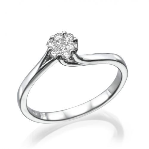 טבעת יהלום אירוסין  -פריז משובץ