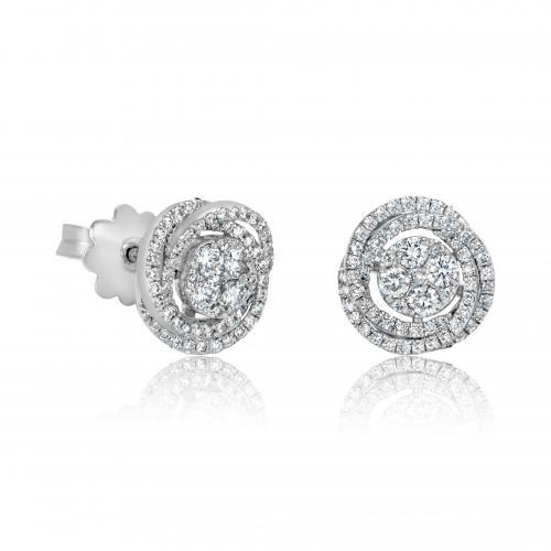 עגילי יהלומים פרח צמודים