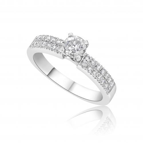 טבעת יהלום סוליטר שתי שורות  A003