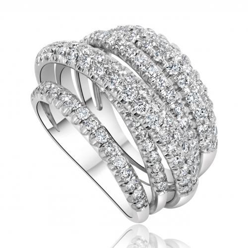 טבעת יהלום שורות מעוצבת