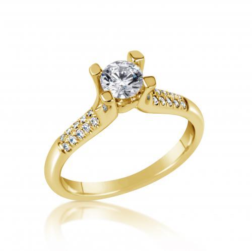טבעת יהלום קלאסי צהובה