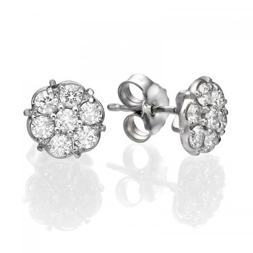 עגילי יהלומים פרח