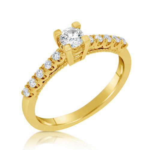 טבעת יהלום סוליטר זהב צהוב