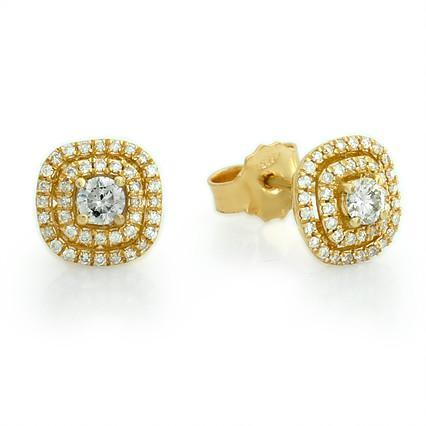 עגילי יהלומים בצורת קושון