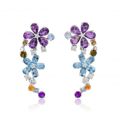 עגילים יהלומים בצורת פרח