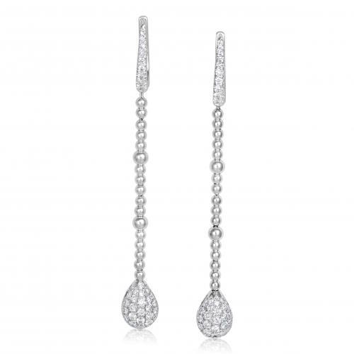 עגילי יהלומים בעיצוב טיפה