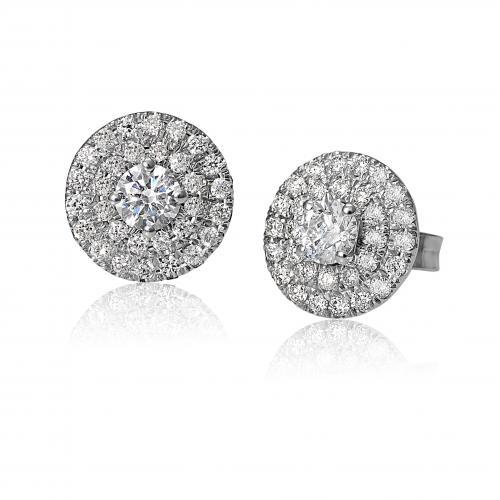 עגילי יהלומים צמודים קלאסים