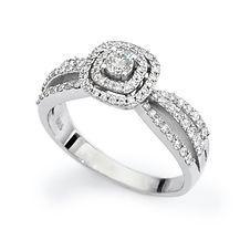 טבעת יהלום חיתוך קושון לבן